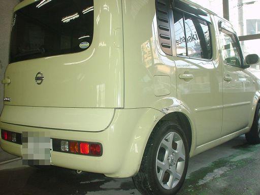 日産 キューブ 右リアフェンダ(クォータ)・リアバンパ修理
