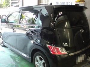 トヨタ bB 左リアドア・リアフェンダ・リアバンパ板金塗装修理