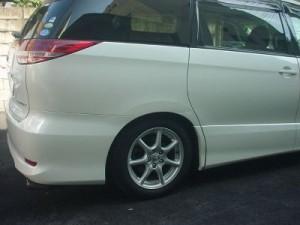トヨタ エスティマ 右スライドドア・リアフェンダ(クォータ)・リアバンパ板金塗装修理